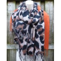 Cashmere Mix Bold Leopard Trim Wrap YC56 (Orange)