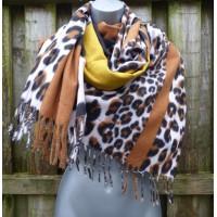 Cashmere Mix Block Leopard Wrap (YC13)