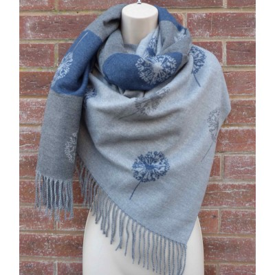 Cashmere Mix Reversible Dandelion Wrap (Grey / Blue)