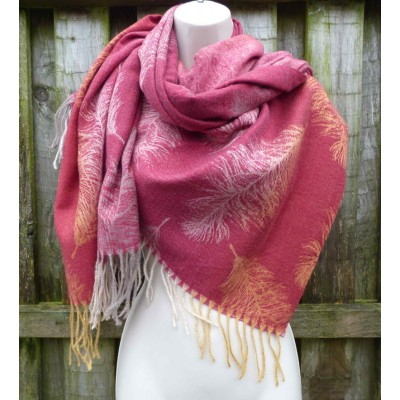 Cashmere Mix Feathers Wrap YC14 (Red)