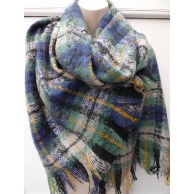Tartan Wrap 1619 (Grey/Blue)