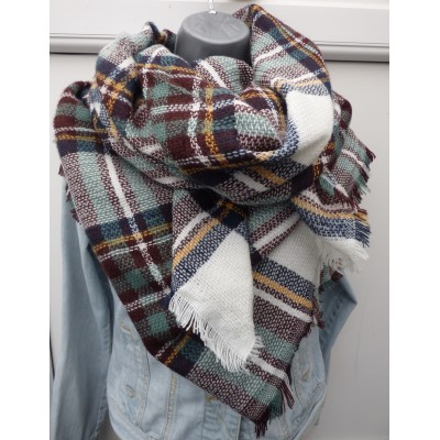 Tartan Square Wrap (White/Green/Chocolate)