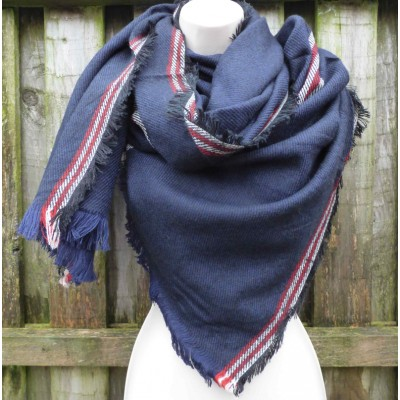 Wool Mix Red Trim Wrap (Navy)