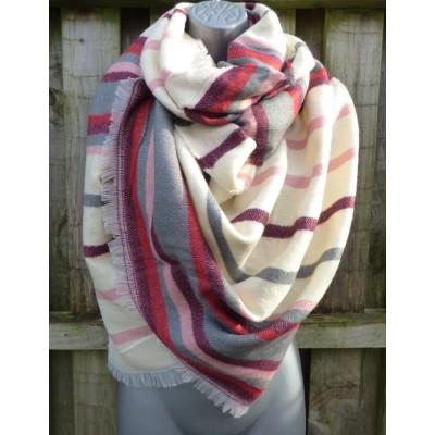 Wool Mix Winter Stripes Wrap (Cream / Wine / Grey)