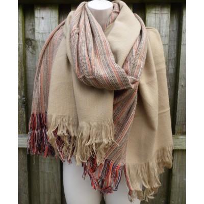 Wool Mix Subtle Stripe Wrap (Camel)