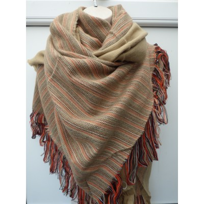 Wool Mix Subtle Stripe Wrap (Camel)