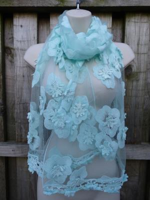Sheer Embroidered Floral Special Occasion Wrap (Mint)